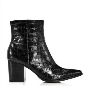 JAGGAR Grounded Croc-Embossed Leather Bootie Black
